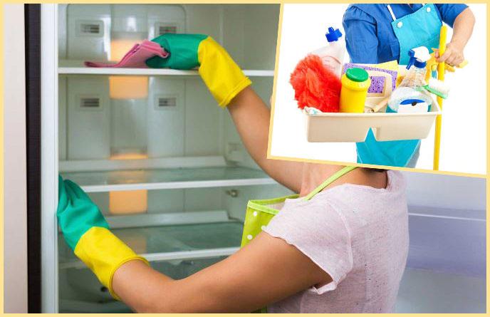 Мытье холодильника и средства для уборки