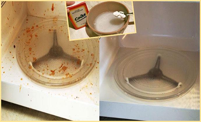 Грязная микроволновка сода и чистая микроволнока