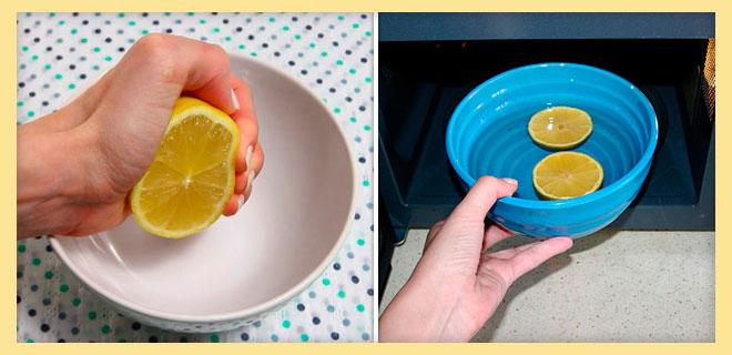 ВЫжимать лимон, и ставить лимонный сок в микроволновку