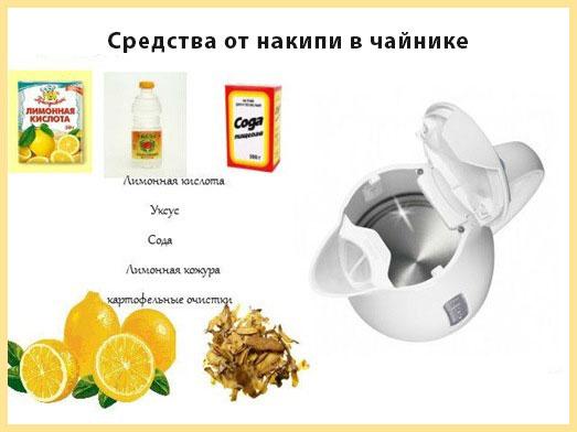 Средства от накипи в чайнике: лимонная кислота, сода, уксус, картофельная или лимонная кожура