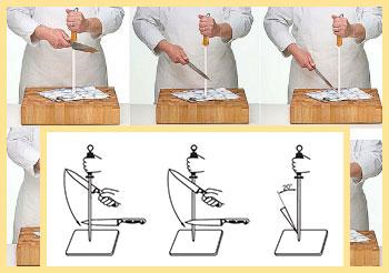 Правка ножа мусатом с опорой на стол