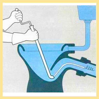Чистка унитаза сантехническим тросом