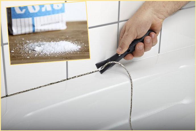 Соль и удаление герметика в ванной
