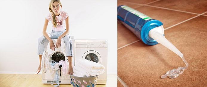 Девушка сидит на стиральных машинах, герметик пролился на кафель