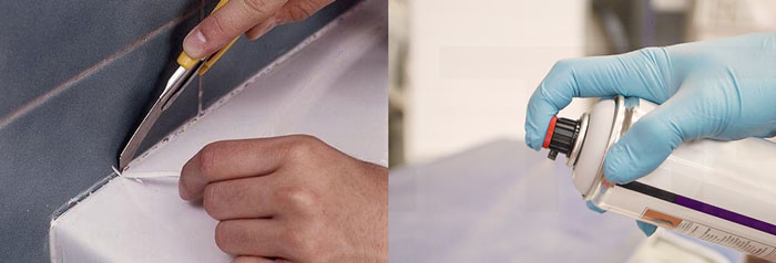 Удаление герметик скребком и растворителем