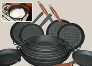 Чугунные сковородки с ручками и без