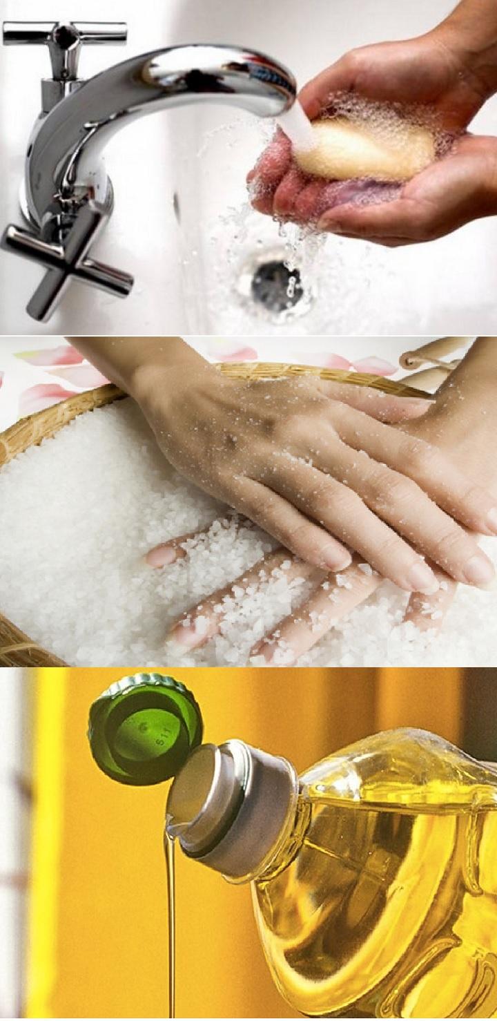 Растительное масло, соль и мыло