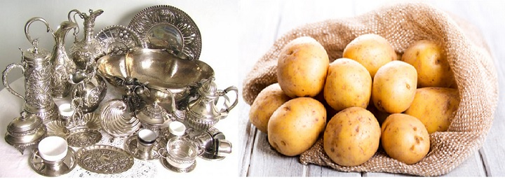Приборы из серебра и картофель
