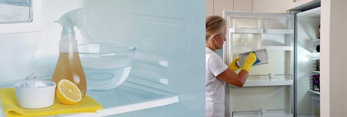мытье холодильника и вода с лимоном в холодильнике