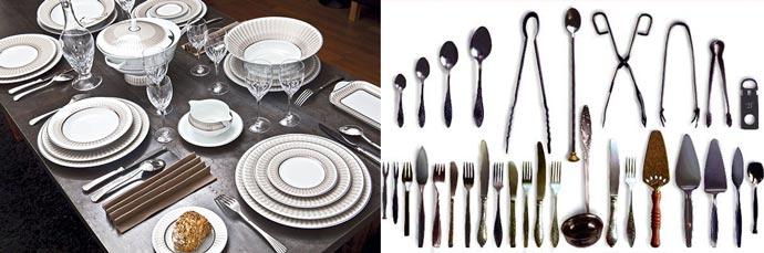 Столовые приборы и посуда на столе