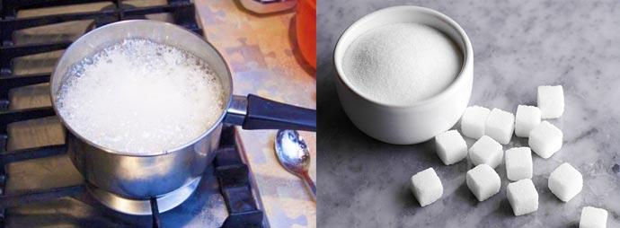 Поготовка сиропа из сахара и крахмала
