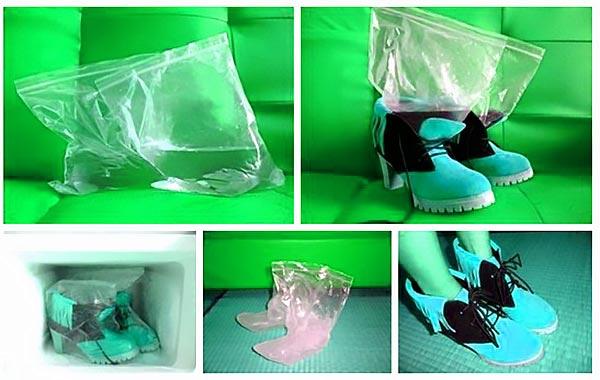 Растяжка обуви в морозилке с пакетом воды