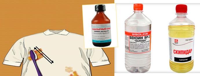 Машиннео масло на белой одежде, бензин, скпидар, нашатырный спирт