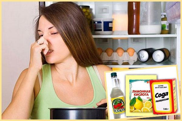 Запах из холодильника, девушка затыкает нос, сода уксус и лимонка