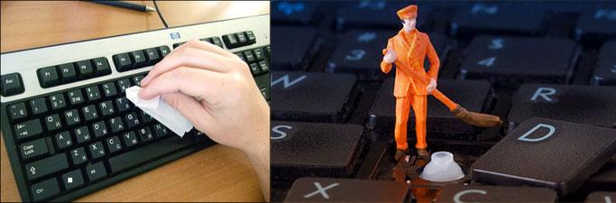 Чистка клавиш на клавиатуре