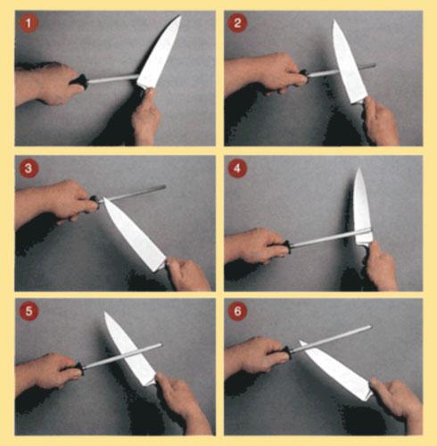 Заточка ножа мусатом на весу