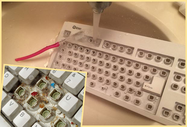 Разобранная грязная клавиатура и чистая