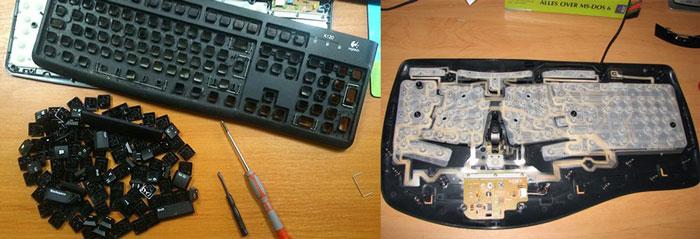 Разобранные клавиатуры для чистки