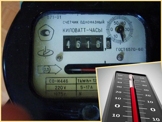 Электросчетчик и термометр