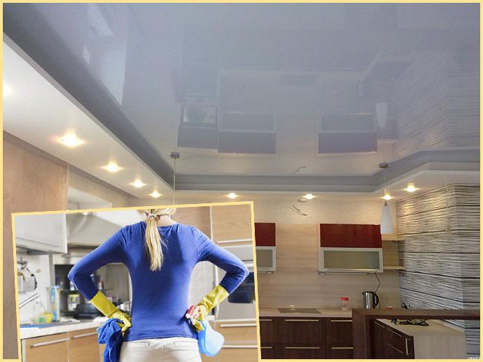 Натяжной потолок и женщина с моющими средствами