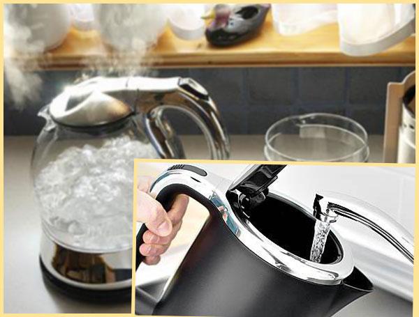 Чайник кипит, нилаивание в чайник воды из под крана
