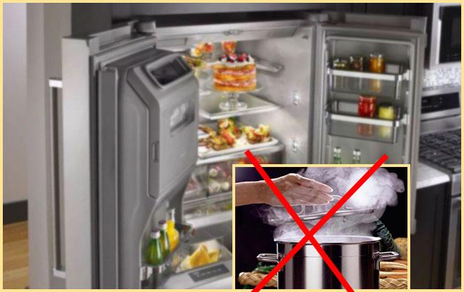Холодильник и горячая кастрбля перечеркнута
