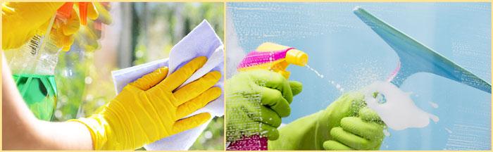 Мытье окон губкой и скребком
