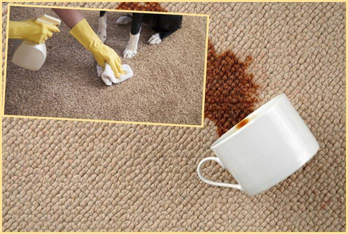 Пролитая чашка кофе на ковер и чистка ковра