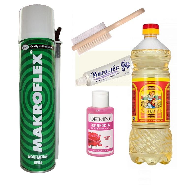 Средства от пены: щетка, ацетон, вазелин, масло