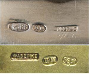 Проба на серебряных изделиях