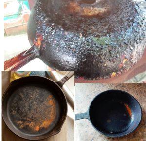 Внешний вид нагара и ржавчины на сковородках