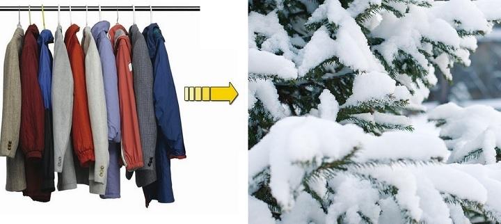 Одежда на вешалках для проветривания