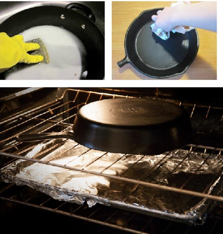 Сковорода прокаливается в духовке