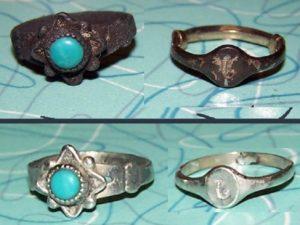 До и после чистки серебро с бирюзой