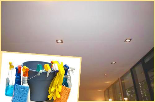 Натяжной потолок и средства для его мытья