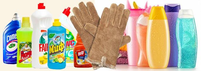 Замшевые перчатки, шампуни и средства для мытья посуды