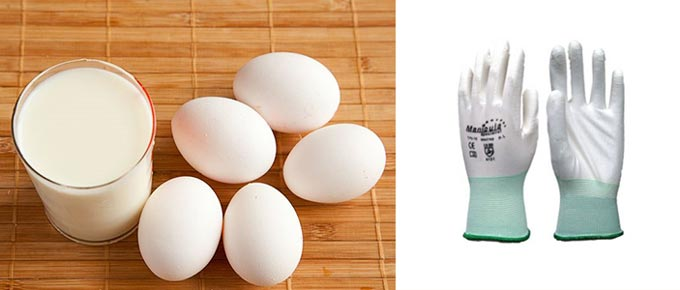 Яяйца и молоко для стирки белокожанных перчаток