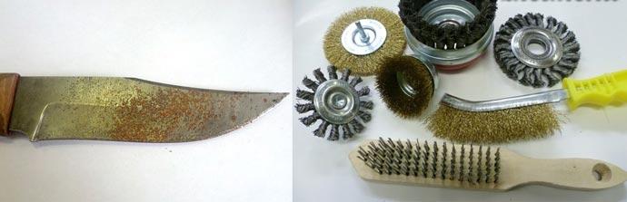 Ржавый нож и металлические щектищетки