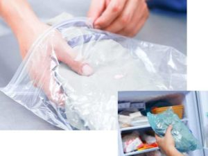 Пострадавшую вещь положите в целлофановый пакет