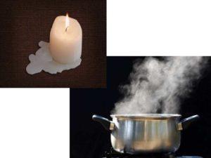 Подержите пострадавшую вещь над кипящим чайником или кастрюлей с водой. Разогретый воск промокните бумажной салфеткой. Повторите несколько раз.