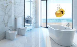 Уборка в ванной при помощи растительного масла