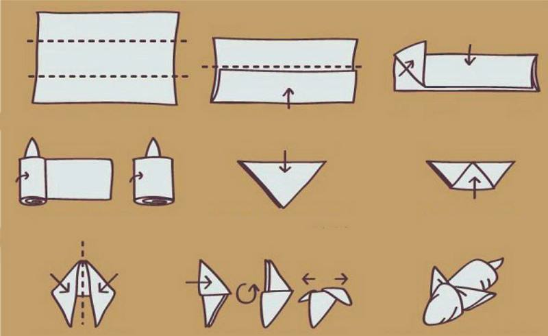 Фигурку мыши можно сложить из квадратного полотенца