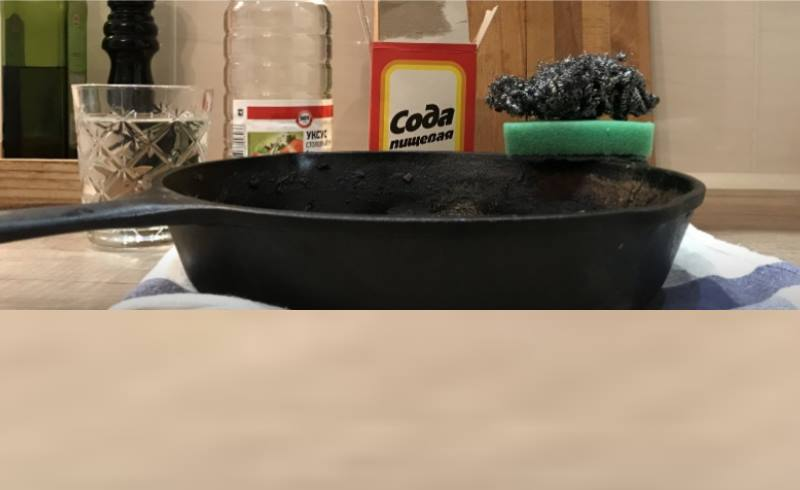 очистить сковороду содой